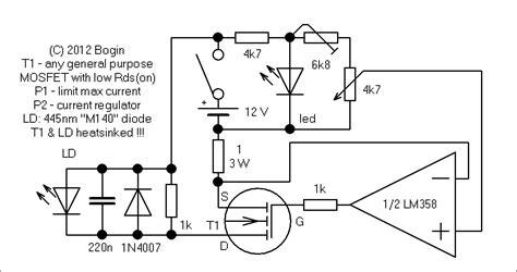blue laser diode driver circuit two watt blue laser driver 445nm jozef bogin jr