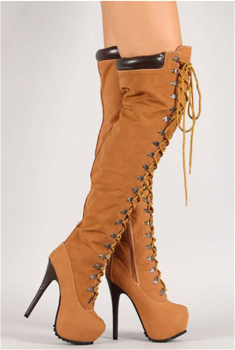 thigh high timberland heels on the hunt