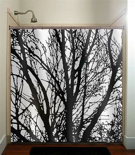 Bathroom Window Curtain Decor Black Tree Branches Shower Curtain Bathroom Decor Fabric