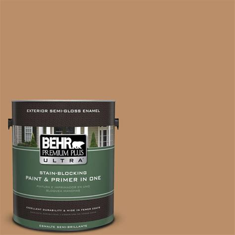 behr premium plus ultra 1 gal s260 5 almond roca semi gloss enamel exterior paint 585301 the