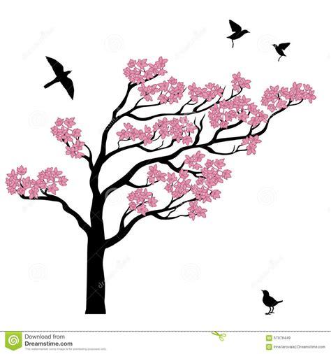 Tree Silhouette Wall Sticker silhoutte of sakura tree with birds stock vector image