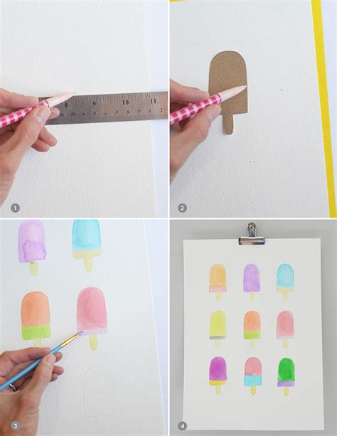 watercolor diy and loisdiy watercolor popsicle print