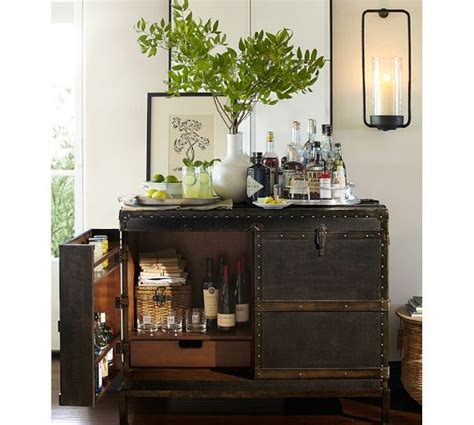 Ludlow Bar Pottery Barn ludlow trunk bar cabinet