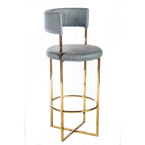 Statements By J Bar Stool by Statements By J Carrie Grey Gold Tone Faux Leather Metal