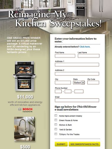 Sweepstakes Prize Entry Center - this old house kitchen makeover sweepstakes sweepstakesbible