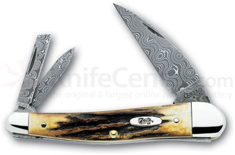 seahorse whittler stag damascus seahorse whittler 4 quot closed 5355wh dam