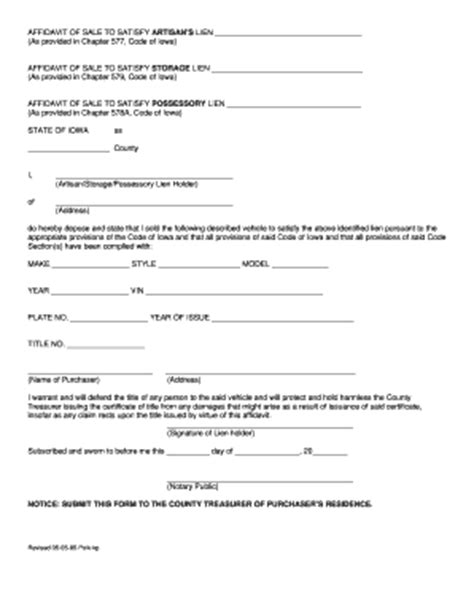 sle of affidavit bill of sale form iowa affidavit of financial status form