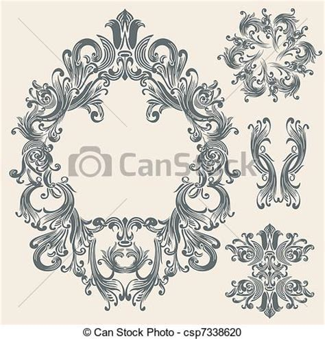 vector clipart of vintage floral frame design csp7338620