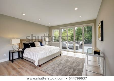master bedroom interior private balcony  stock photo