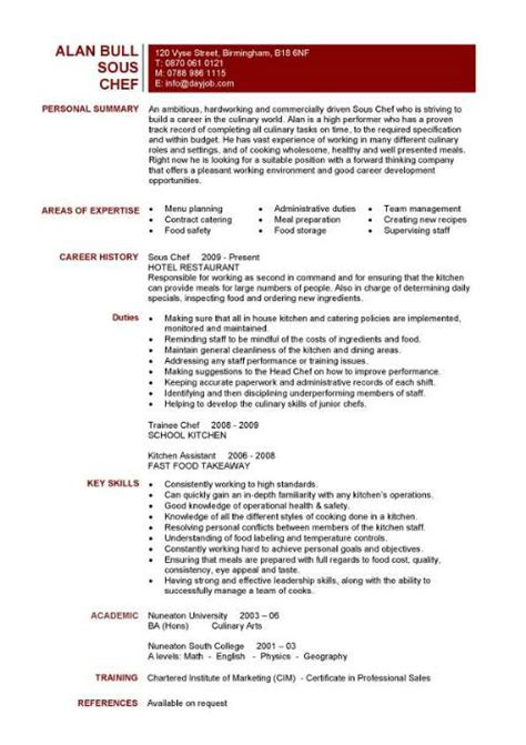 Culinary Resume Templates by Chef Resume Sle Exles Sous Chef Free