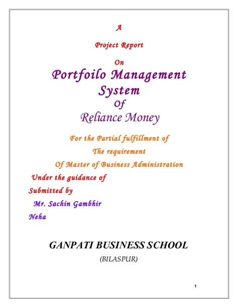 Portfolio Management Project Report Mba portfolio management system project for mba finance