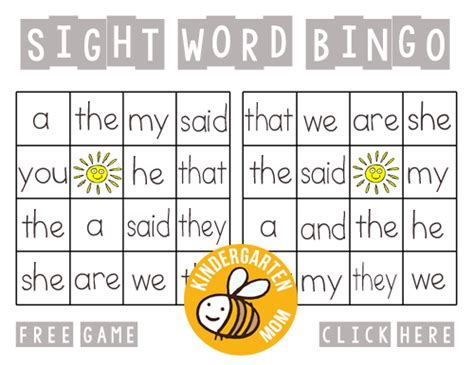 printable sight word games for preschoolers sight word printables