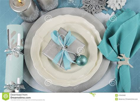 silver place settings christmas table place settings in aqua blue silver and