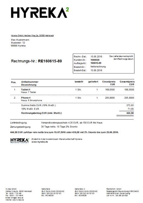 Rechnung Für Kleinunternehmer Gem 19 Ustg Brutto Order Netto Hyreka Warenwirtschaft