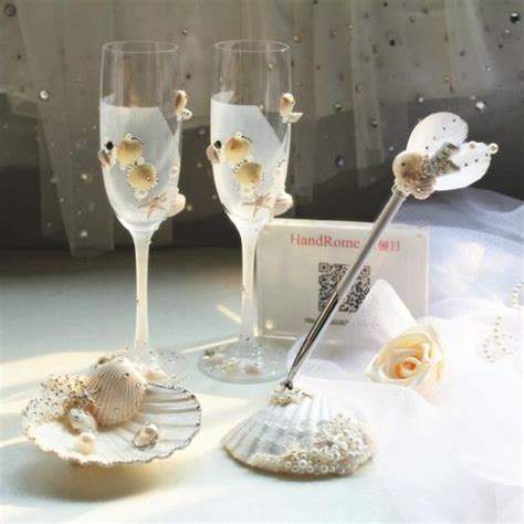2015 Shell Wedding Decorations Beach Wedding Supplies Champagne Flutes Crystals Beadings