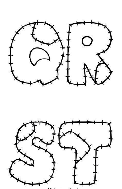 Molde de letras para patchwork com marcação da costura e