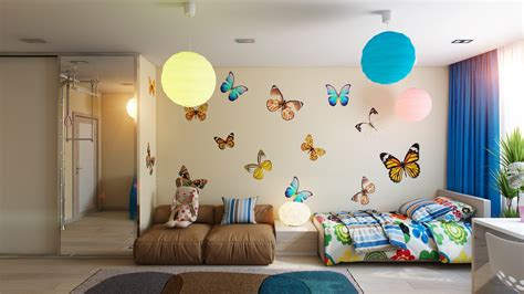 butterfly bedroom casting color over kids rooms