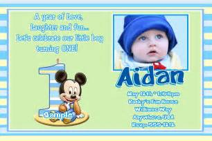 jb23 baby mickey mouse 1st birthday invitations