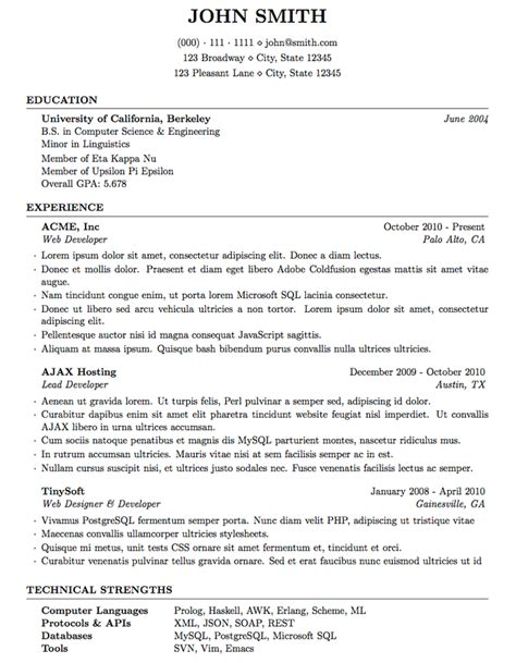 Usa Jobs Resume Length by Latex Templates 187 Curricula Vitae R 233 Sum 233 S