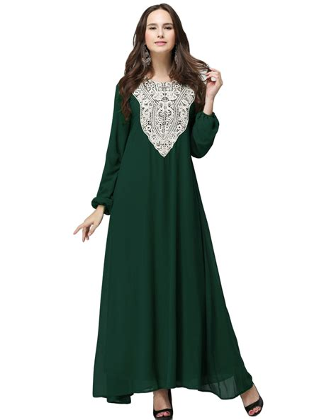 Zanana Maxy Dress Maxy Muslim Dress Maxy muslim plus size chiffon maxi dress applique o neck sleeve abaya dress islamic casual