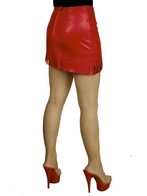 soft leather mini skirt  fringed slant hem tout ensemble