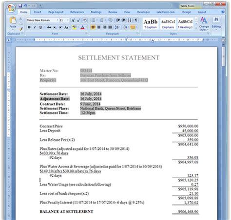 settlement statement template settlement statements adjustment sheets statement of