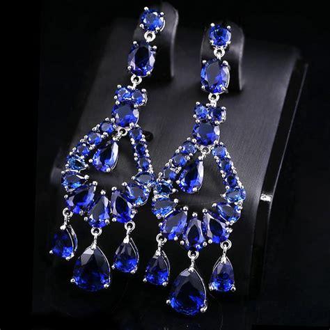 Austrian Crystal Chandelier Big Long Fashion Jewelry Royal Blue Chandelier Earrings