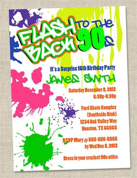 graffiti birthday invitations neon invitation