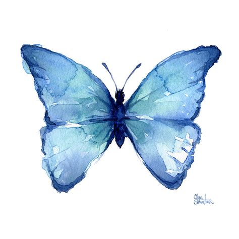 Butterfly Blue blue butterfly watercolor painting by olga shvartsur