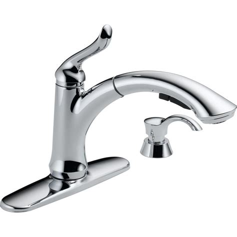delta peerless pull out kitchen faucet with soap dispenser delta linden single handle pull out sprayer kitchen faucet