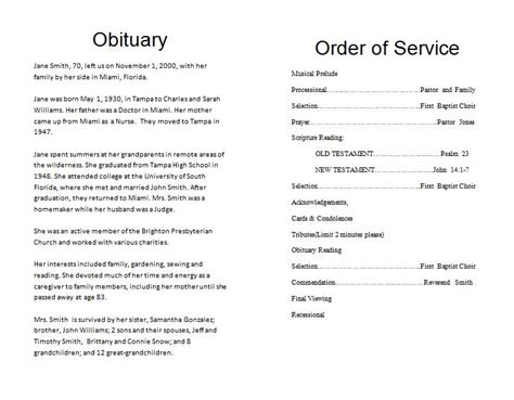 funeral obituary template the funeral memorial program free funeral program