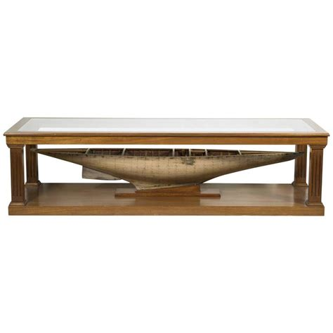 custom made coffee tables custom made coffee table with antique pond yacht model for sale at 1stdibs