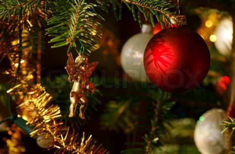 weihnachtsbaum mit glaskugeln stockfoto colourbox