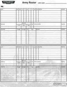 army battle roster template pin army roster template on