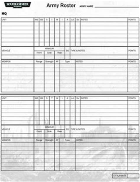 40k army list template pin army roster template on