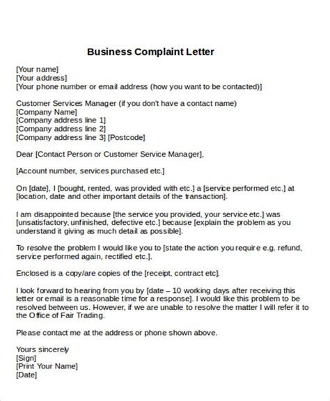 business letters complaint sles sle formal complaint letter 7 exles in word pdf