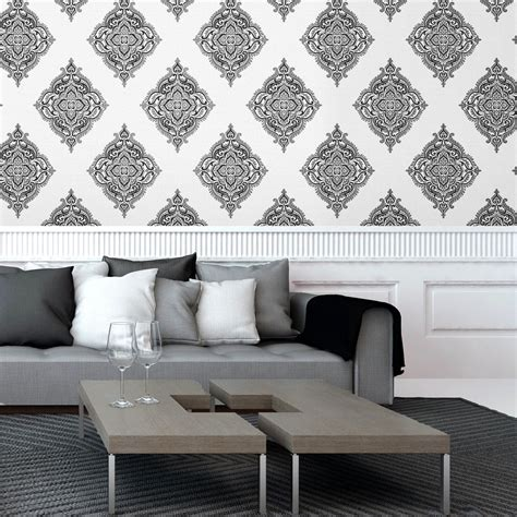 black damask wallpaper home decor black and silver living room wallpaper living room