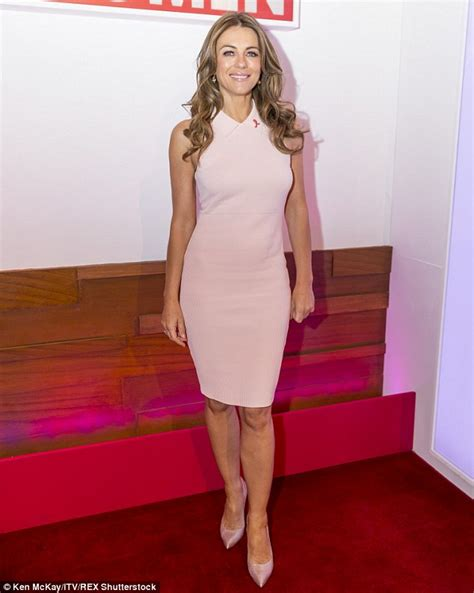 50 year old women in shape elizabeth hurley promotes breast cancer awareness on loose