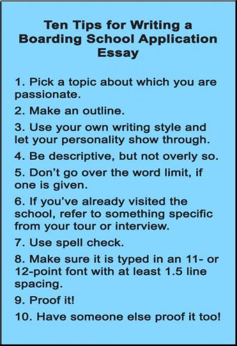 tips for writing papers ten tips for writing a boarding school application essay