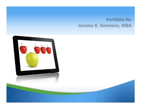Simmons Mba by Jerome Simmons Mba Marketing Portfolio