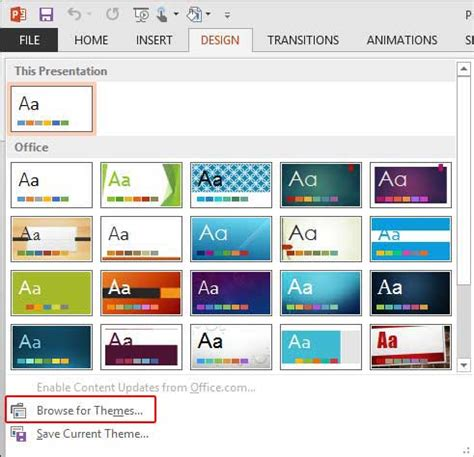 themes powerpoint office 2013 applying themes in powerpoint word and excel 2013