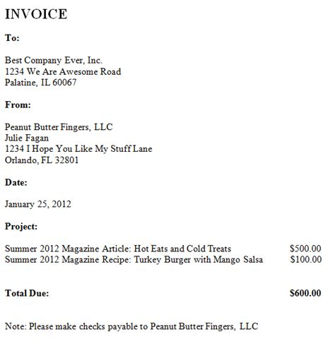 writing a bill template freelance invoice peanut butter fingers