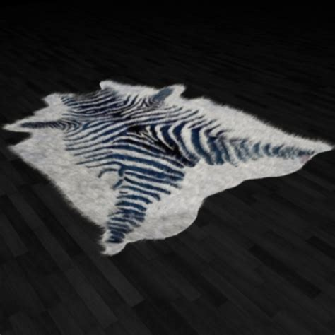 zebra fur rug zebra skin fur rug by bdcat 3docean