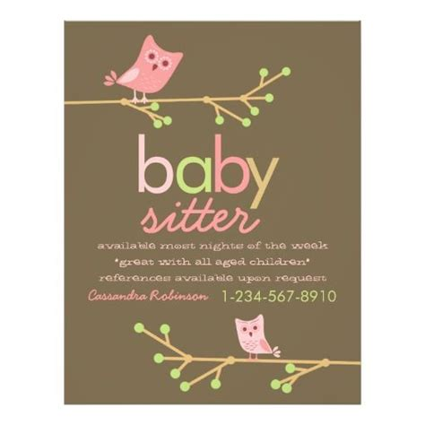 babysitting cards free templates mod owls advertisement flyer babysitting owl