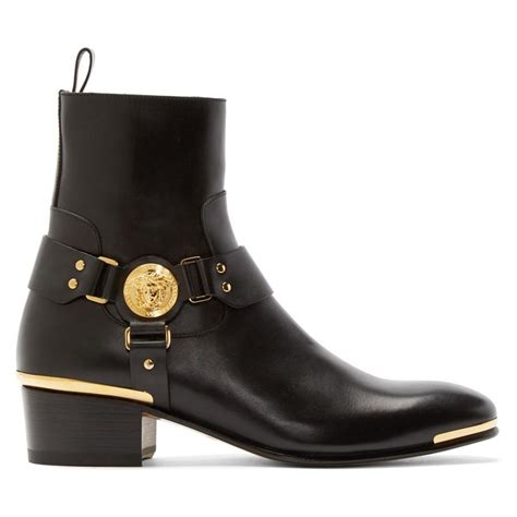 versace boots for versace men s black medusa harness boots aafashioner
