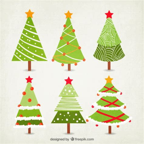 christmas tree collection vector free download