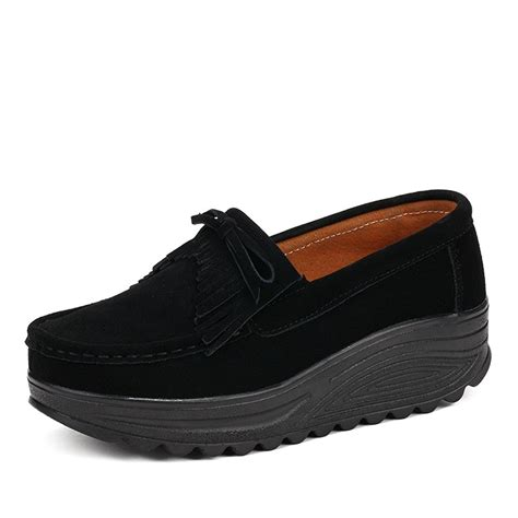 womens platform loafers enllerviid womens slip on tassel suede driving moccasins