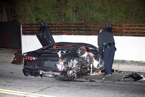 crashed lamborghini chris brown s lamborghini aventador crashed and abandoned