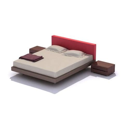 red headboard double red headboard double bed 3d model