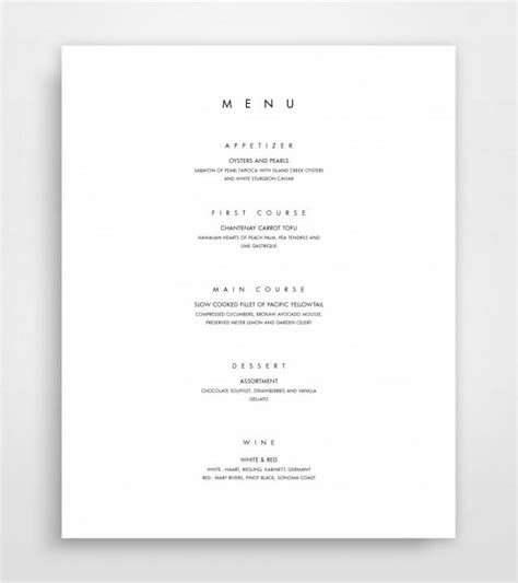 menu template for pages menu template printable menu modern menu minimalist